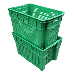 green plastic crates for fruits and vegetables